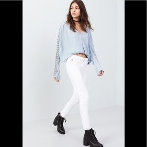 Free People runway blouse in sky blue